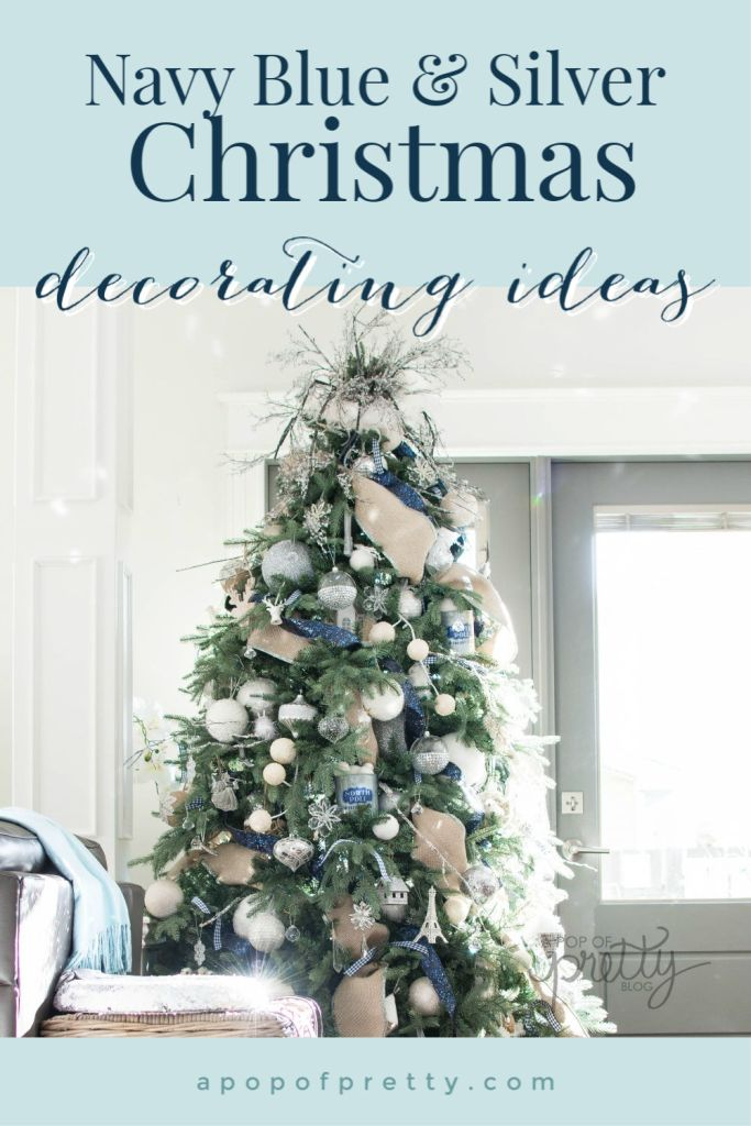 Navy Blue Christmas Decor Ideas Home Tour A Pop Of