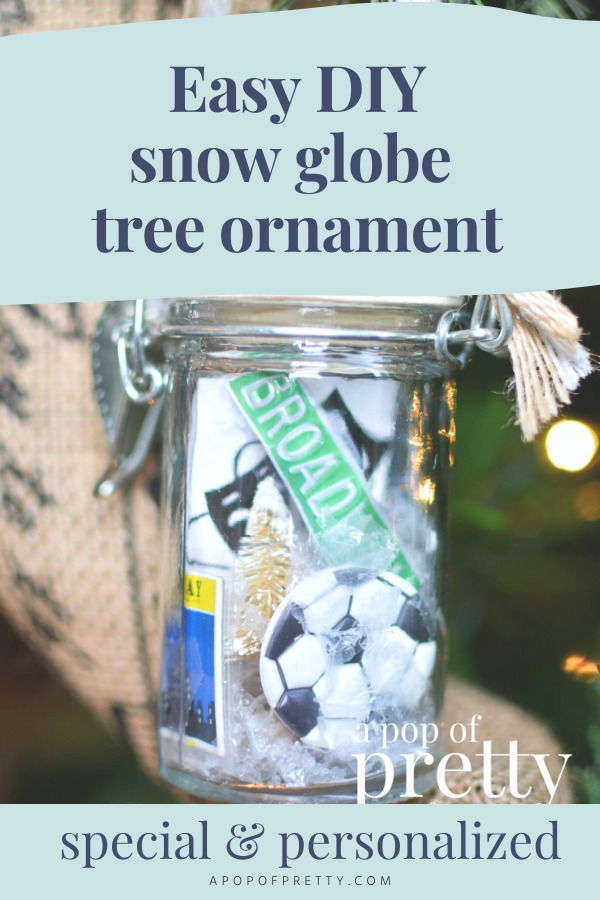 Easy DIY snow globe ornament jar