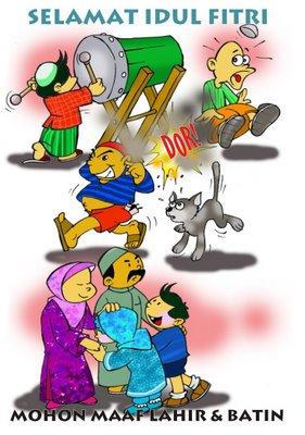 Selamat Hari Raya Idul Fitri Kartun : selamat, fitri, kartun, Contoh, Gambar, Mewarnai, Ucapan, Fitri, KataUcap