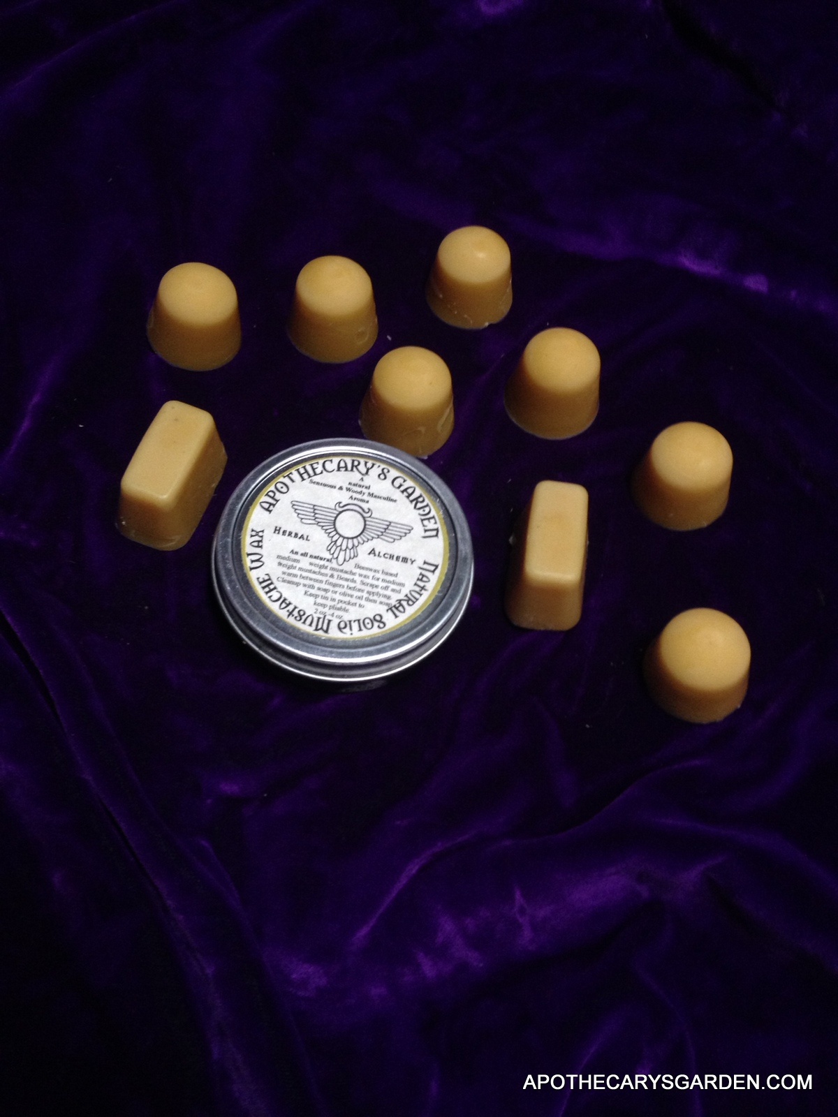 Beeswax Lanolin Moustache Wax Recipe, cast in ice cube trays
