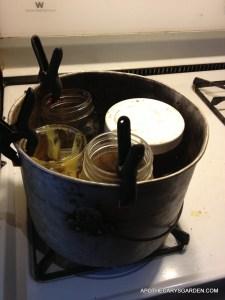 Mustache wax recipe in double boiler.