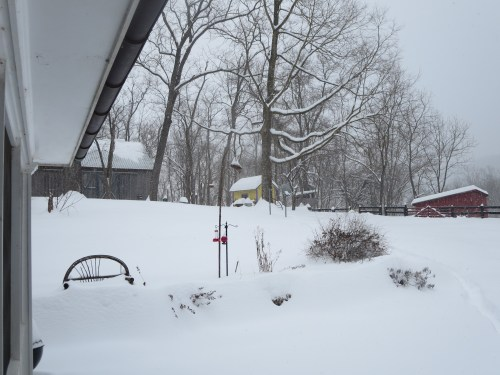 The apothecary shed is hiding in the snow.