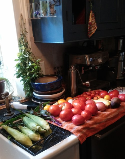 Garden produce from two days.