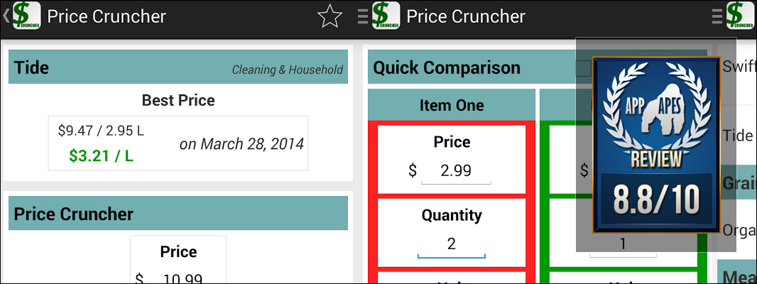 Price Comparison Shopping List Review