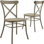 Details About New Rustic Distressed White Metal Crossback Dining Chair Set Of 2 Farmhouse