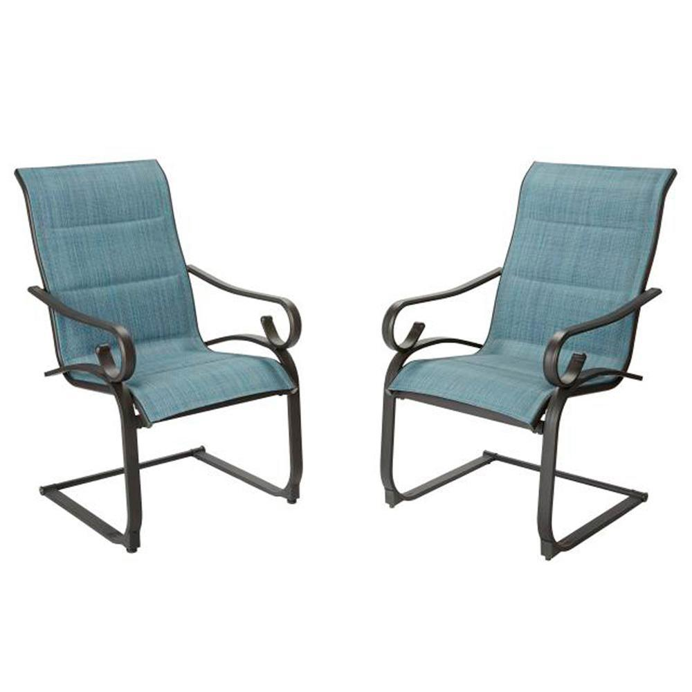 details about crestridge steel padded sling c spring outdoor patio dining chair in conley