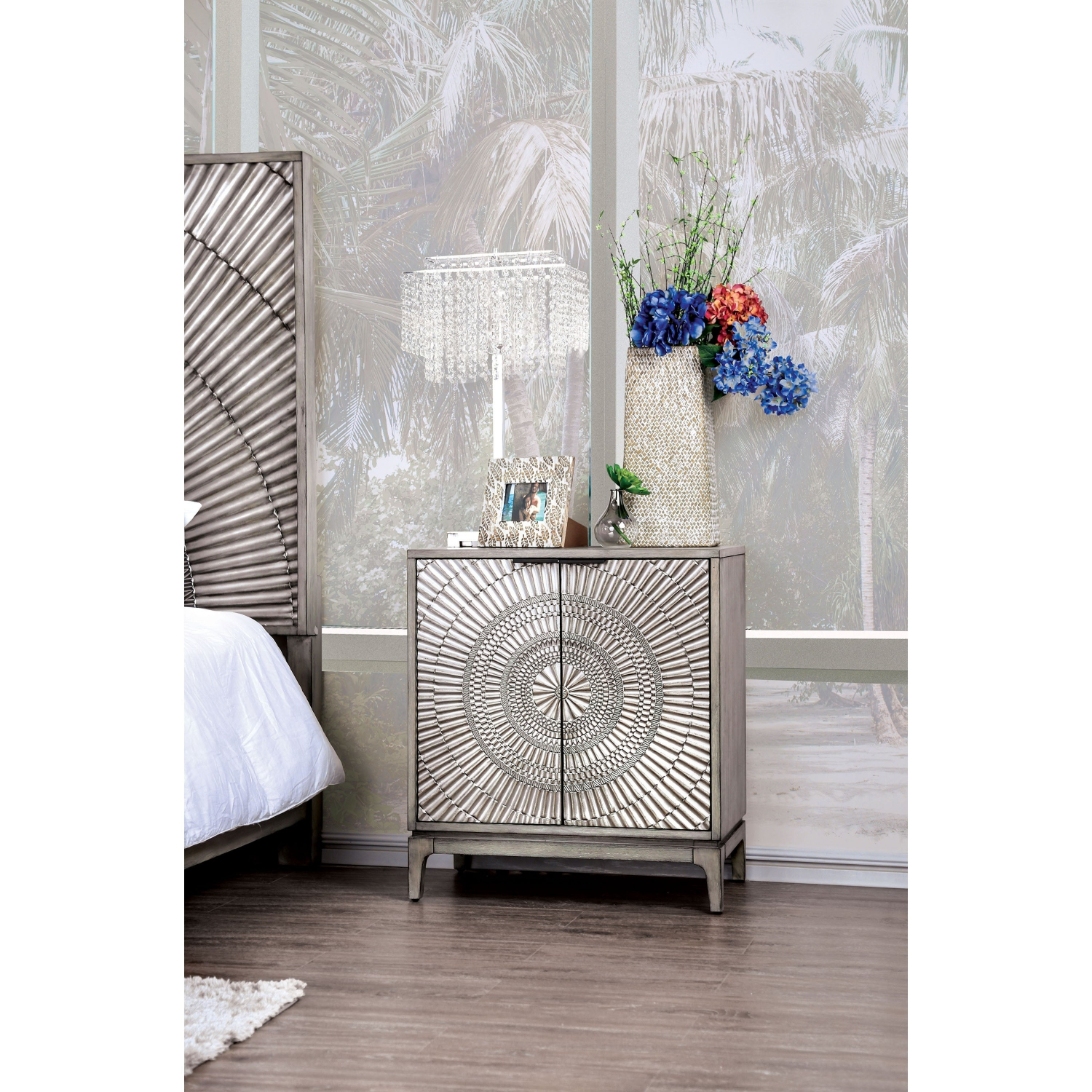 Details About The Curated Nomad Levant Transitional Antique Grey 2 Door Nightstand