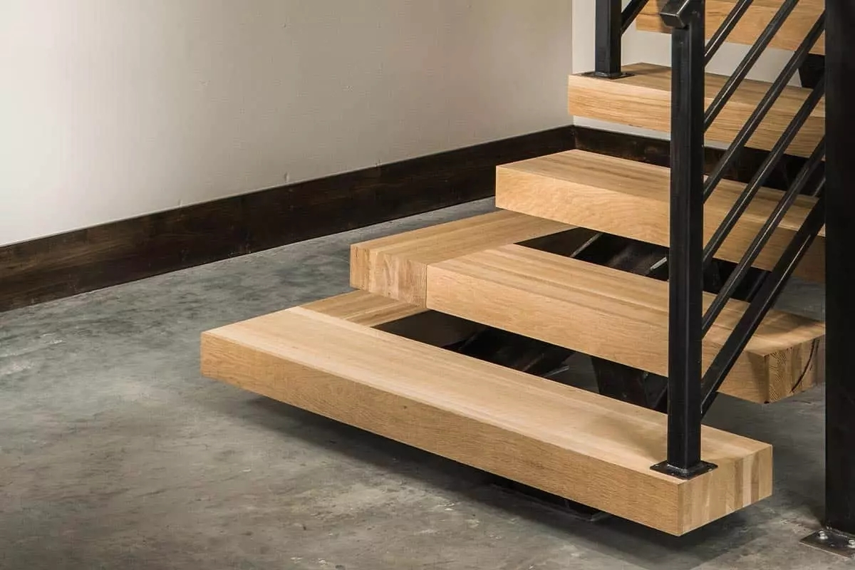Stair Parts Appalachian Lumber | Engineered Hardwood Stair Treads | Bullnose | Platform | Engineered Hardwood | Interior | Luxury Vinyl