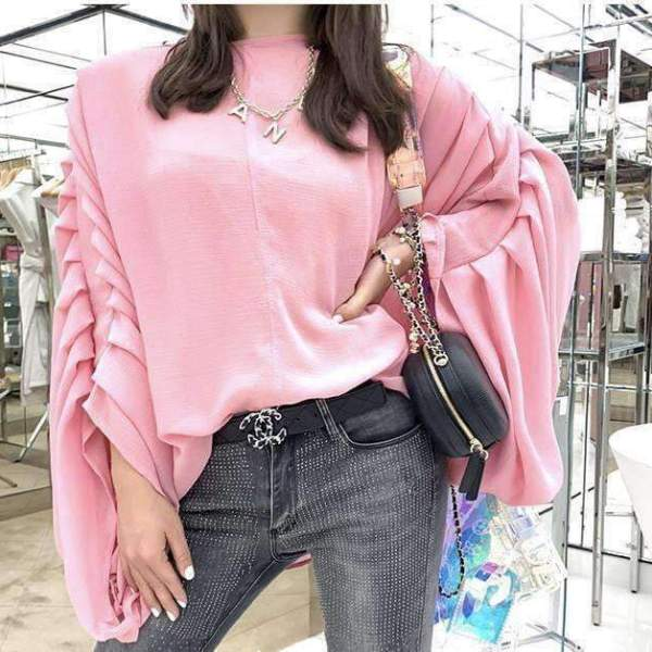 Blush All Day Pleated Sleeves Top