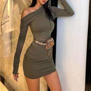 Olive Green One Shoulder Dress