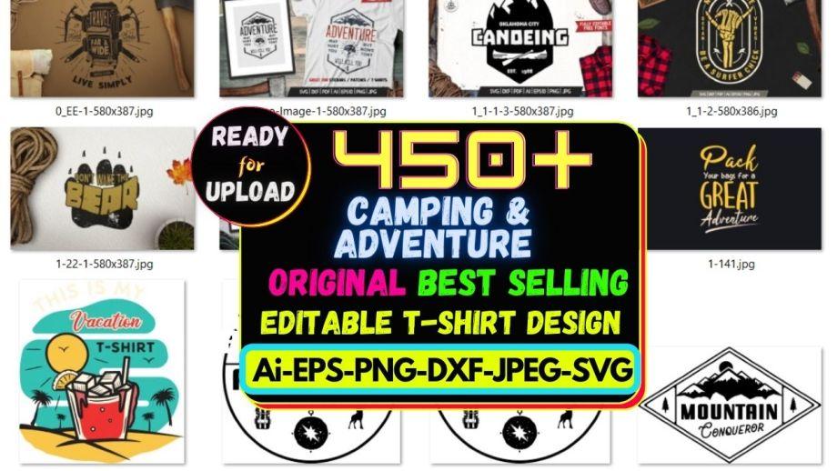 450+ Camping & Adventure Best Selling T-shirt Design Bundle Cheap Price