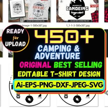 450+ Camping & Adventure Best Selling T-shirt Design Bundle Cheap Price