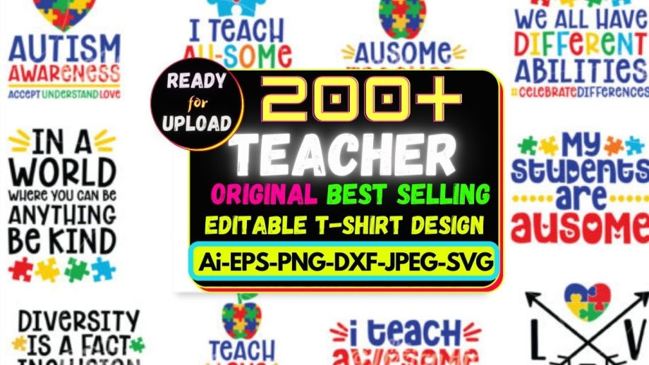 200+Teacher Best Selling T-shirt Design Bundle Cheap Price