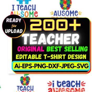 200+Teacher Best Selling T-shirt Design Bundle Cheap Price