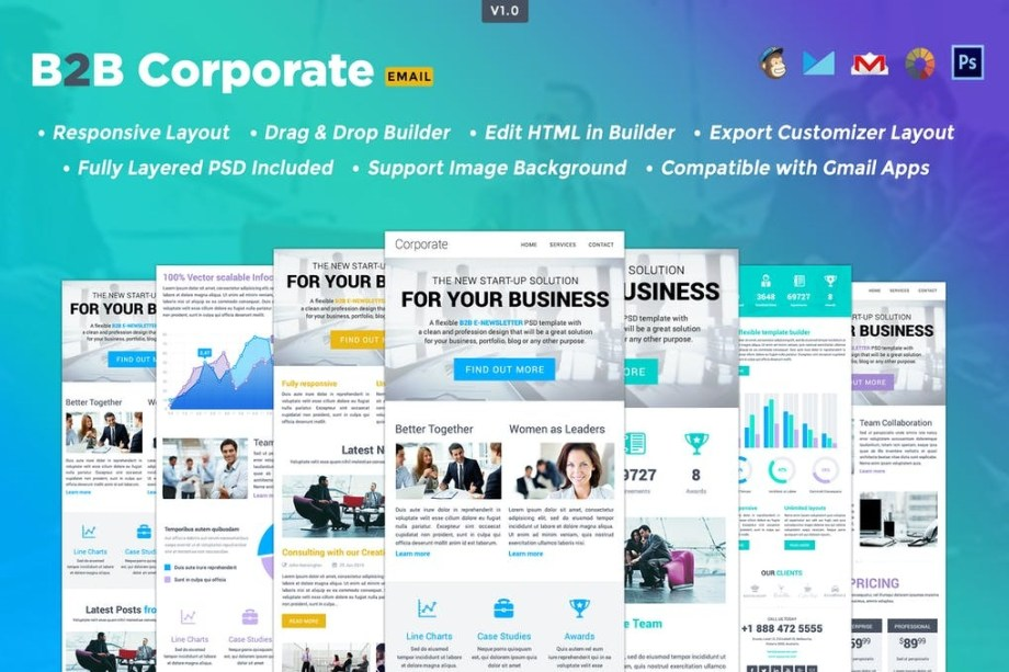 Best B2B- Responsive HTML Email Template Cheap Price