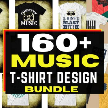 160+ Editable Music T-shirt Design Bundle Cheap Price