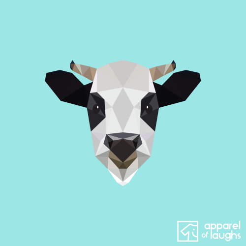 Low Poly Cow T Shirt Design Light Blue