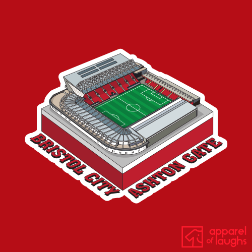 Bristol City Football Stadium Ashton Gate T Shirt Design Red