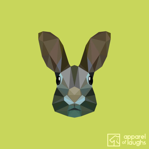 Low Poly Rabbit Female T-Shirt Design Apple Green
