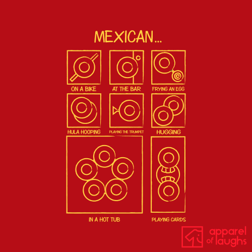 Mexican on a Bike T-Shirt Design Red