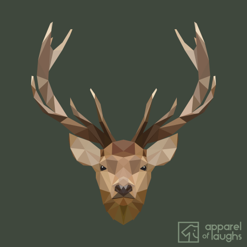 Low Poly Stag British Wildlife Military Green Design