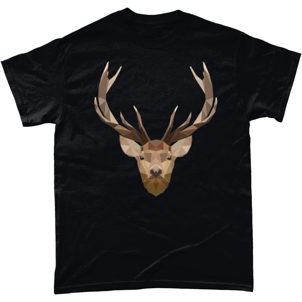 Low Poly Stag British Wildlife Black T-Shirt Design