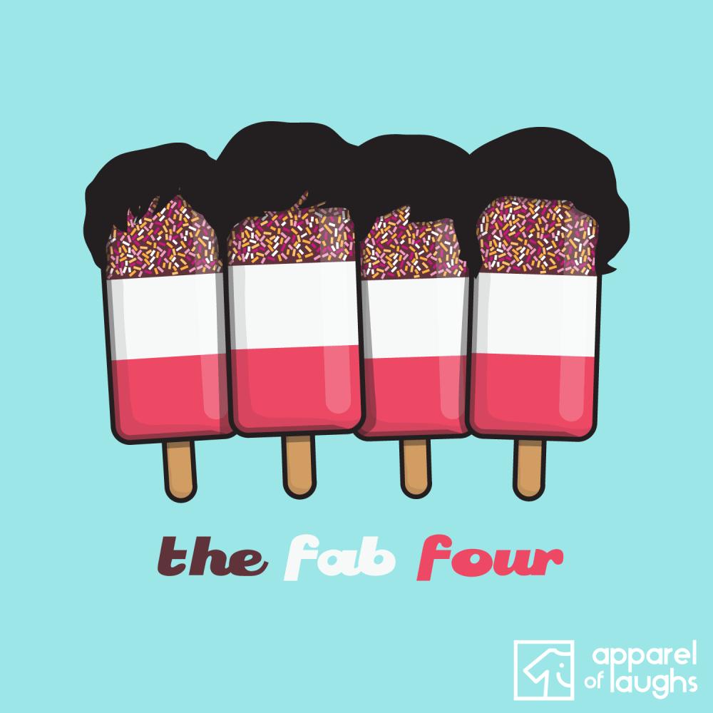 Fab Four 4 Beatles Ice Cream Lolly T-Shirt Design Light Blue