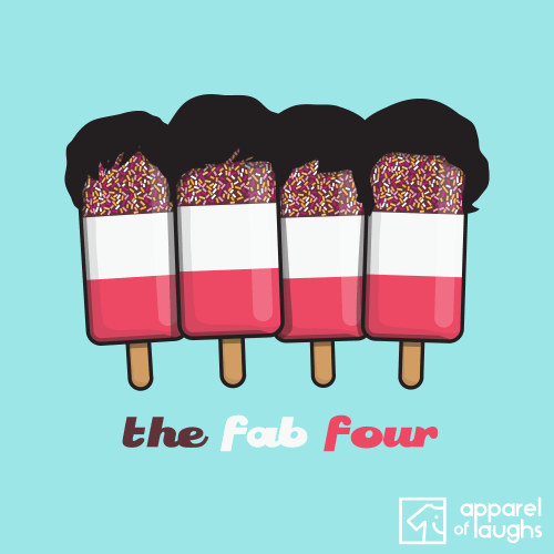 Fab Four 4 Beatles Ice Cream Lolly T-Shirt Design Light Blue