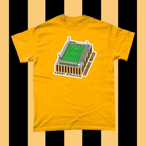 Cambridge United Abbey Stadium Football Illustration T Shirt Gold