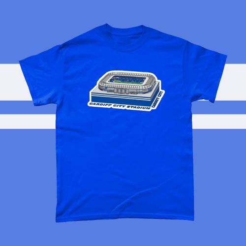 Cardiff City Stadium Football Illustration Men's T Shirt Royal Blue