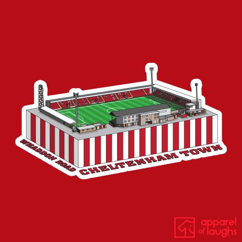Cheltenham Town Whaddon Road Football Stadium Illustration T Shirt Design Red