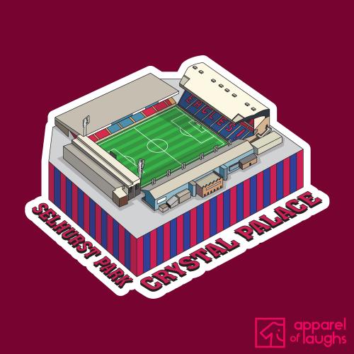 Crystal Palace Selhurst Park Football Stadium Illustration T Shirt Design Cardinal Red