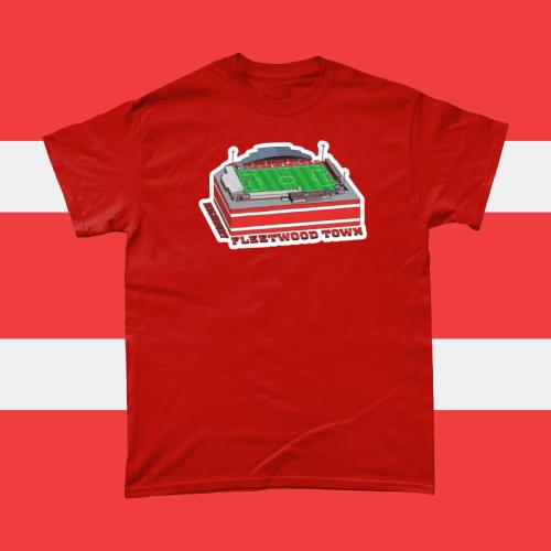 Fleetwood Highbury Football Stadium Illustration Men's T-Shirt Red
