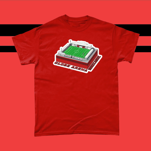 Globe Arena Morecambe Football Stadium Illustration Men's T-Shirt Red