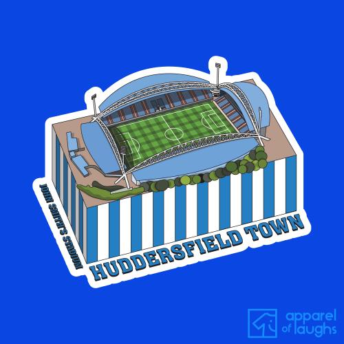 Huddersfield Town John Smith's Stadium Football Illustration T Shirt Design Royal Blue