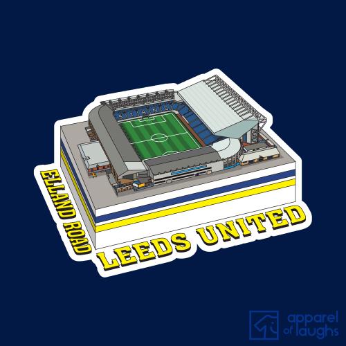 Leeds United Elland Road Footbal lStadium Football Illustration T Shirt Design Navy