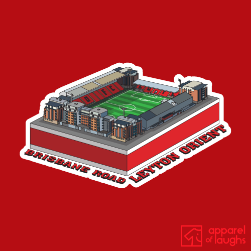 Leyton Orient Brisbane Road Football Stadium Illustration T Shirt Design Red