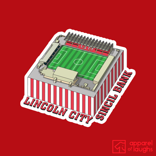 Lincoln City Sincil Bank Football Stadium Illustration T Shirt Design Red