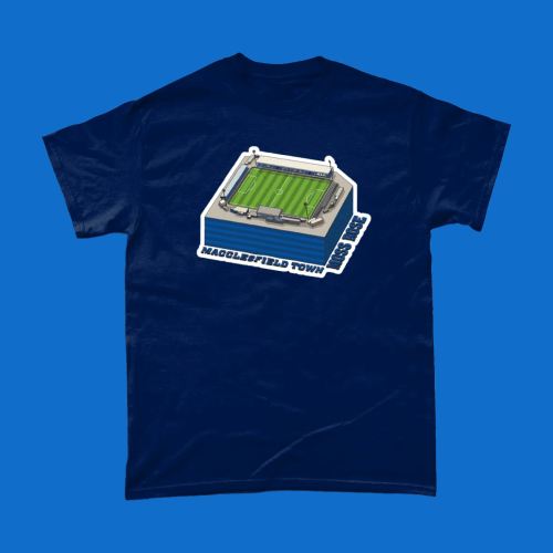 Macclesfield Town Moss Rose Football Stadium Illustration Men's T-shirt Navy