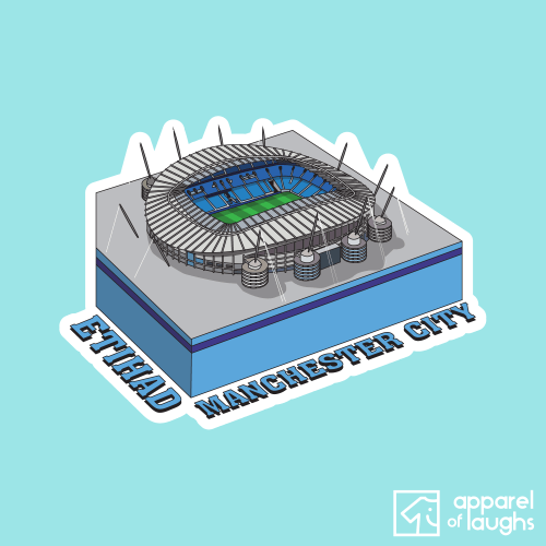 Manchester City Etihad Football Stadium Illustration T Shirt Design Light Blue