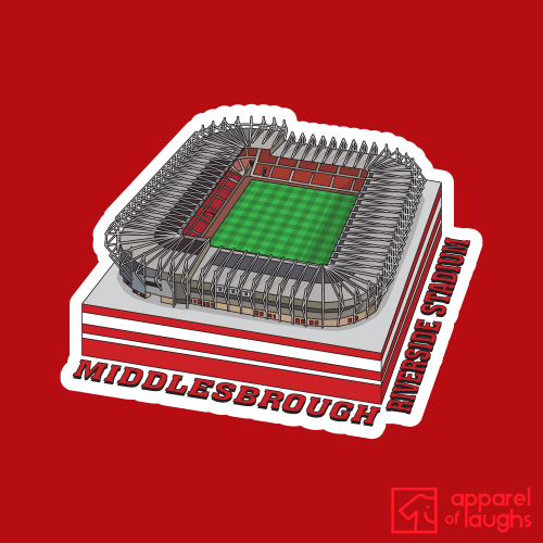 Middlesbrough Riverside Stadium Football Illustration T Shirt Design Red