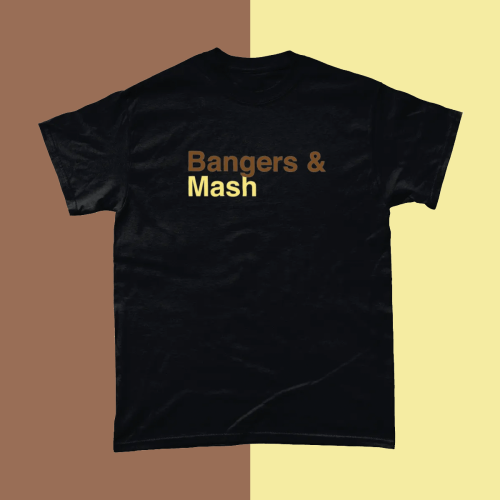 Bangers and Mash British Food Menu Men's T-Shirt Black