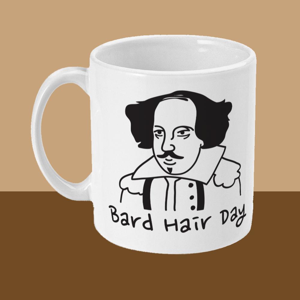 Bard Hair Day William Shakespeare Mug Left