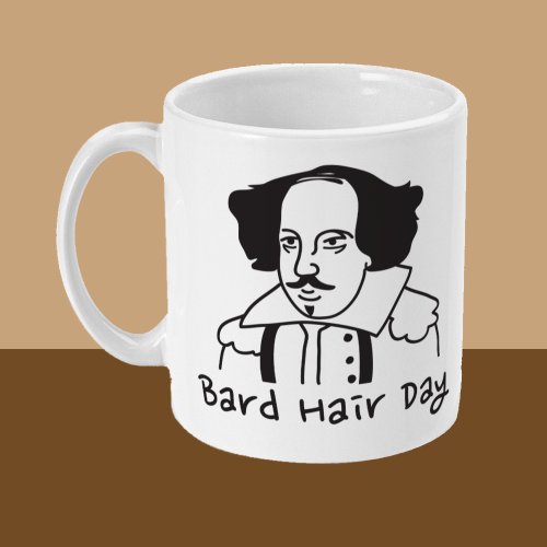 Bard Hair Day William Shakespeare Mug Left