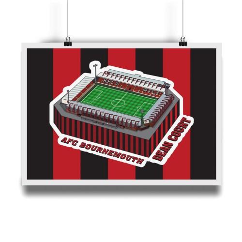 AFC Bournemouth Dean Court Hallowed Turf Football Stadium Illustration Print