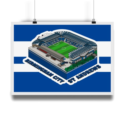 Birmingham City St Andrews Hallowed Turf Football Stadium Illustration Print
