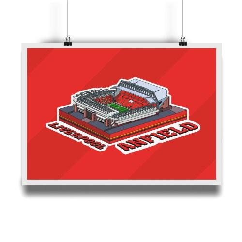 Liverpool Anfield Hallowed Turf Football Stadium Illustration Print