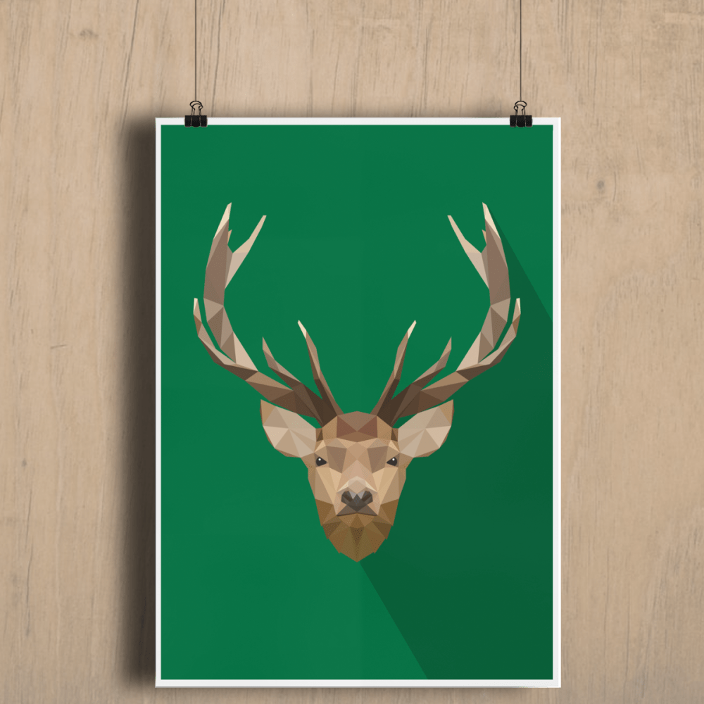 Low Poly Stag Deer Home Decor Fine Art Print A2