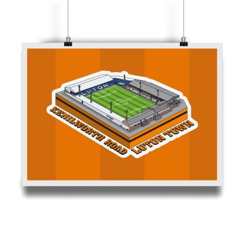 Luton Town Kenilworth Road Hallowed Turf Football Stadium Illustration Print