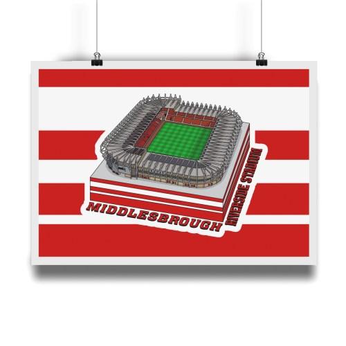 Middlesbrough Riverside Stadium Hallowed Turf Football Stadium Illustration Print
